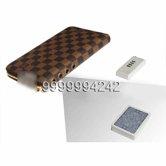 Brown Leather LV Wallet Double Lens Camera For Poker Analyzer 30-40cm