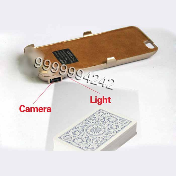 Iphone Six Golden Plastic Charger Case Poker Scanner With Micro Camera